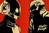 (24x36) Daft Punk Helmet Red Background Music Poster Print