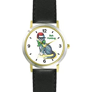 See Cat in Santa Claus Hat - Bah Humbug Cat Cartoon or Comic - JP Animal - WATCHBUDDY® DELUXE TWO-TONE THEME WATCH - Arabic Numbers - Black Leather Strap-Size-Large ( Men's Size or Jumbo Women's Size ) Full size and View details