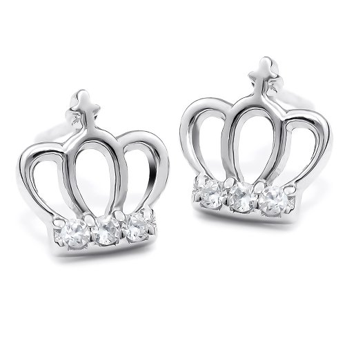Neoglory Jewelry Stud Earrings 925 Silver Sterling Cute Crown Rhinestone Jewelry for Girls