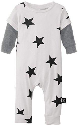 Nununu Unisex-Baby Newborn Stars Playsuit, White, 6-12 Months front-16068