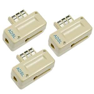 Hama Lot de 3 filtres ADSL permettant la connection d'un modem ADSL et d'un téléphone sur la même prise murale PTT et le filtrage de fréquences pour éviter toute perturbation de la conversation téléphonique quand la connexion Internet est active.