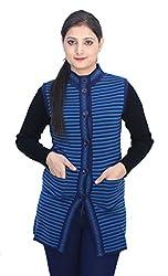 Romano Women's Classic Sleeveless Blue Winter Sweater Cardigan Coat