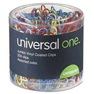 Paper Clips - Vinyl Coated Wire, Jumbo, Assorted Colors, 250/Pack(sold in packs of 3)