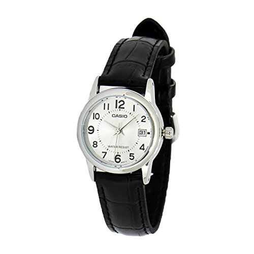 LADIES CASIO WATCH WITH BLACK LEATHER STRAP