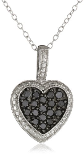 Black Rhodium Sterling Silver Black and White Diamond Heart Pendant Necklace (.5 Cttw), 18