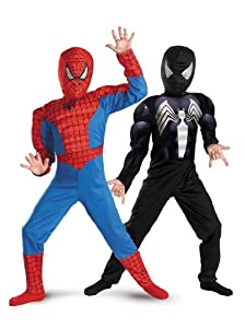 Disguise Marvel Spider-Man Reversible Spider-Man Red To Black Classic Muscle Boys Costume, 7-8