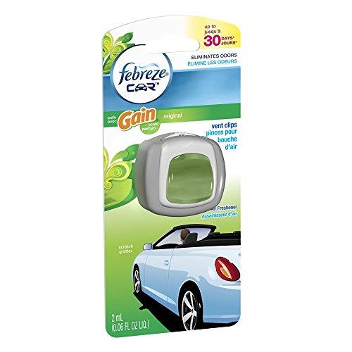 Febreze Car Vent Clip Auto, Home Office AC Air Freshener & Odor Eliminator, With Gain Original - 2 Pieces (Clip Air Freshener compare prices)