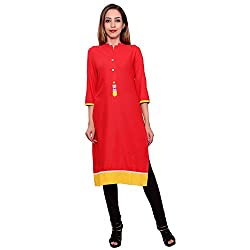 MSONS Women's Red Back Embroidered Rayon Fabric Long Kurti