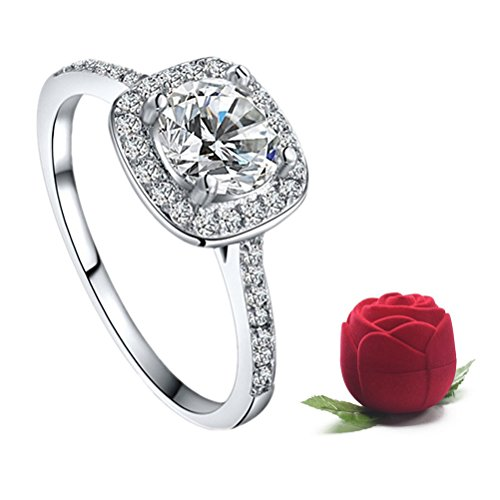 Women's Elegant Inlaid Zircon Cushion Cut Halo Engagement Ring