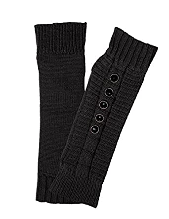 Dahlia Women's Five Faceted Button Acrylic Fingerless Arm Warmer Gloves Black