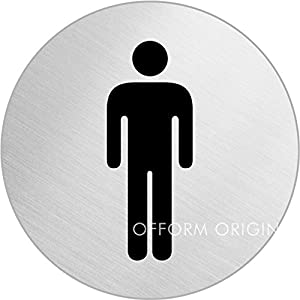 Ofform stainless steel door sign male men toilet 75 mm 8473 kitchen home for Stainless steel bathroom signs