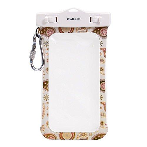 オウルテック 防水・防塵ケース もしもの時でも安心メーカー保証 iPhone 6s / 6sPlus等対応 最高級保護レベルIP68取得 ネックストラップ カラビナ付 ペイズリー柄 ホワイト OWL-WPCSP03-PA2