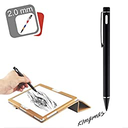 KINGMAS 2.0mm High-precision Active Capacitive Touch Pen Stylus for iOS/Android/Microsoft device, iPad, iPhone, Samsung Galaxy, Nexus, LG G Pad, HTC and other touch screen devices (Black)