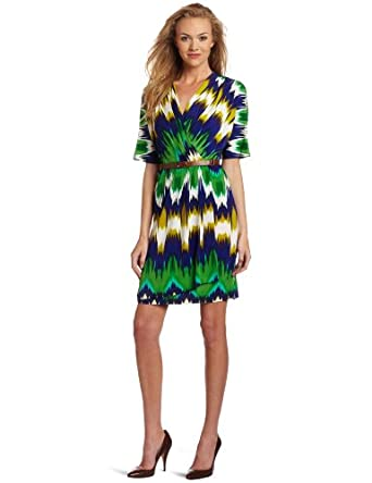 Calvin Klein Women's Print Wrap Dress, Kelly, 10