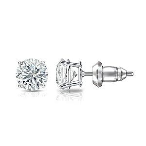 IGI Certified 14k White Gold 4-Prong Basket Round Diamond Stud Earrings (1 ct, H-I, I1-I2)