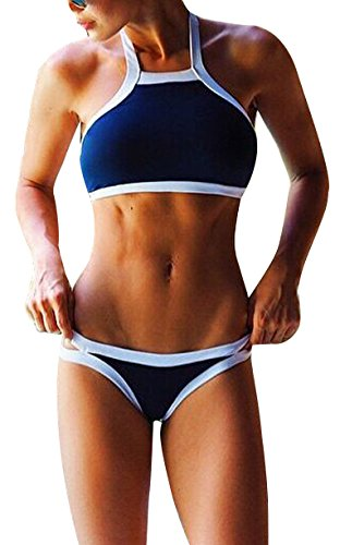 Simplicity Women's Printed High Neck Bikini Set Swimsuit, Blue White Line, S (Blue And White Bikini compare prices)