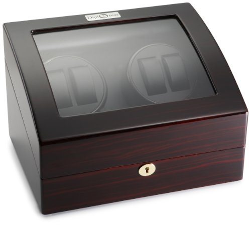 Diplomat Ebony Wood Quad Watch Winder with Black Leather Interior and 4 Program Settings