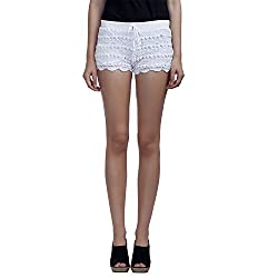 MansiCollections Causal Women's Solid Crochet White Shorts (28)