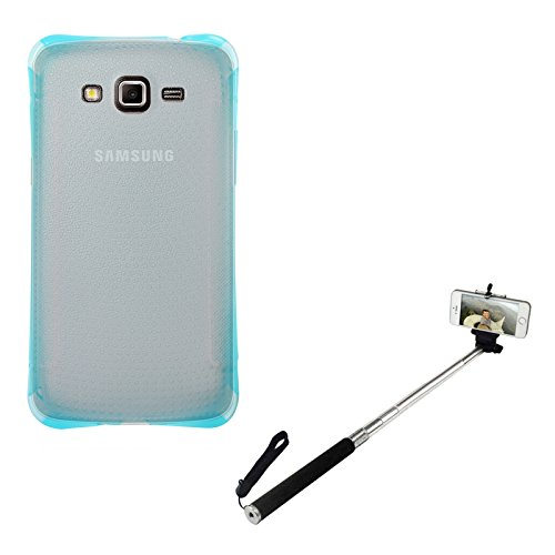 DMG Ultra Thin Flexible TPU Extra Protection and Grip Back Cover Case For Samsung Galaxy Grand 2 G7102 (Blue) + Selfie Stand Stick