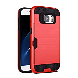 [For Galaxy S7 ]Arcraft(TM) Brushed Armor Heavy Duty Case/ Card Slot/ Double Layer Shock Absorbing Tough Cover with Bumper