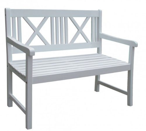 Gartenbank 2-Sitzer weiß lackiert Eukalyptus FSC-Holz