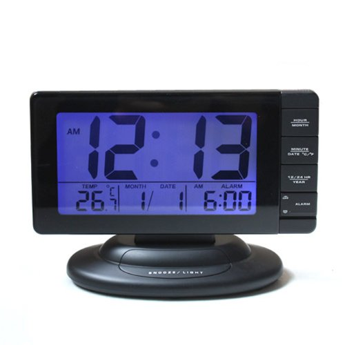 HITO™ Large Display Alarm Clock w/ Date, Temperature, Repeating Snooze, Sensor (blue light at night) and Nightlight - Black