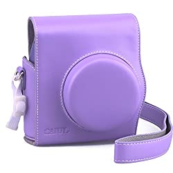 [Fujifilm Instax Mini 8 Case] - CAIUL 2nd Generation [Update Version] Comprehensive Protection Instax Mini 8 Case With Soft PU Leather [ Film Count Show and Easy to Reload Film Design ] (Purple)