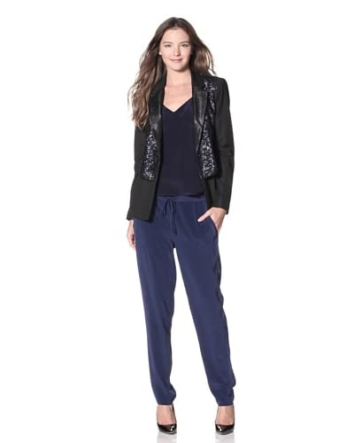 Elizabeth and James Women's Deco Sequin Rex Blazer  - Slate Blue/Black