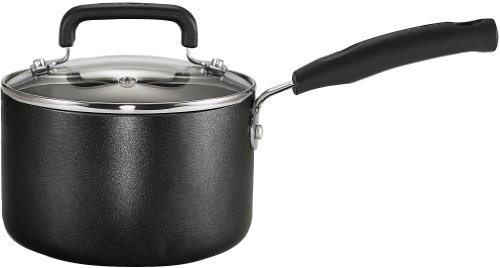 T-fal C1192474 Signature Nonstick Expert Interior Dishwasher Safe 3-Quart Sauce Pan with Glass Lid Cookware, Black