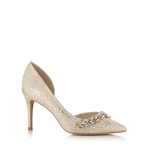 Designer Gold Leather Shimmer Leaf Embellished High Court <strong>Shoe