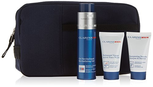 Clarins 825-46373 Men Hydratation Set da 3: Gel Revitalizante 50 ml, Shampoo/Gel Doccia 30 ml e Gel Schiuma Purificante 30 ml