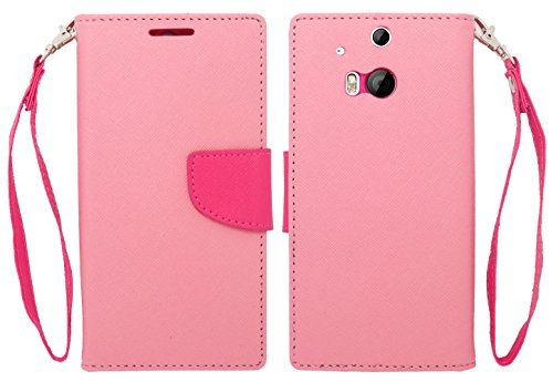 Mylife Bubblegum Pink And Hot Pink {Modern Tab Design} Faux Leather (Card, Cash And Id Holder + Magnetic Closing) Slim Wallet For The All-New Htc One M8 Android Smartphone - Aka, 2Nd Gen Htc One (External Textured Synthetic Leather With Magnetic Clip + In