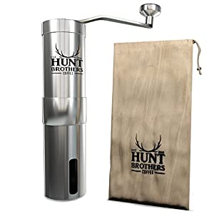 Hunt Brothers Coffee Mill | Best Coffee Grinder for Travelling , Aeropress Compatible, Stainless Steel Body and Handle by Hunt Brothers