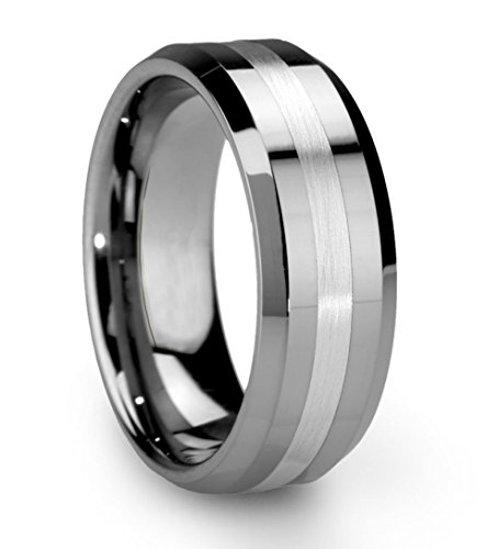 King Will Men's 8mm Tungsten Carbide Ring One Tone Matte Finish Brushed Center Wedding Band Beveled Edge (9.5)