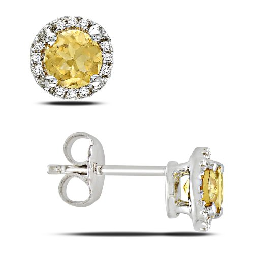 Sterling Silver 7/8 CT TGW Citrine 0.07 CT TDW Diamond Stud Earrings (G-H, I3)
