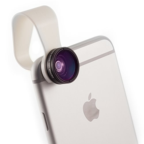iPhone Camera Lens and Smartphone Lens Kit by Pocket Lens - Macro (closeup) and Wide Angle Lens, Fits Most Cases, Comes With Small Carry Pouch iPhone 4/4s/5/6/iPad and Others. Add Creativity to Your Smartphone Pics Now!