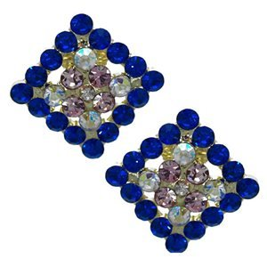 Marenda Gold Sapphire Pink AB Crystal Clip On Earrings