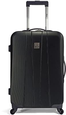 Hard Shell Wheeled Case Hand Luggage Small Suitcase ABS 55x40x20cm (Black)
