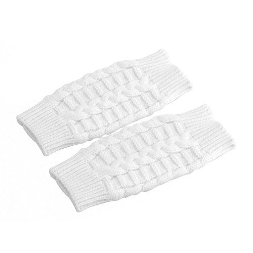 Chakit Fashion Soft Warm Mitten Unisex Men Women Knitted Fingerless Winter Gloves (White) (Atlas Thermal Gloves Xl compare prices)
