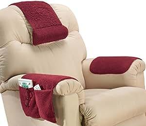 Amazon.com - SHERPA 3 PIECE ARMCHAIR SAVERS - BURGUNDY - Throw Pillow