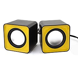 ANKGLEAS Mini Portable Classic Multimedia Speaker Powered by USB 2.0 and 3.5mm Jack for Sound Output (Yellow/Black) - 2 Years Warranty