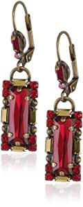 "Sorrelli ""Ruby Cocktail"" Long Red and Gold Baguette Crystal French Wire Earrings"