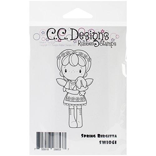C.C. Designs Swiss Pixie Cling Stamp, 3.75 By 2-Inch, Spring Birgitta