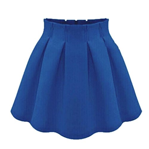 Minetom Donne Elegante Ginocchio Mini Gonna romantica a Chiffon Party Gonna a Pieghe ( Blu EU XS )