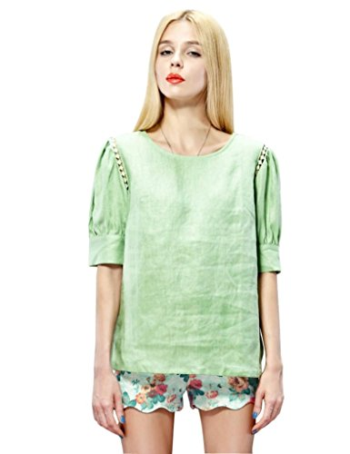 Elf Sack Womens Summer Blouse Round Neck Half Sleeve Linen Hollow Lace Large Size Green