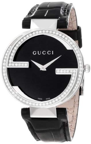 Gucci Women's YA133306 Interlocking Black Crocodile Steel and Diamond Watch