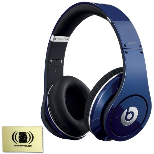 Beats By Dr. Dre Studio High-Power Amplifier Ergonomically Designed Over-Ear Headphones (Blue) Bundle With Custom Designed Zorro Sounds Instrument Cloth