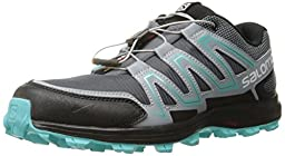 Salomon Women\'s Speedtrak W Trail Runner, Dark Cloud/Light Onix/Bubble Blue, 9 D US