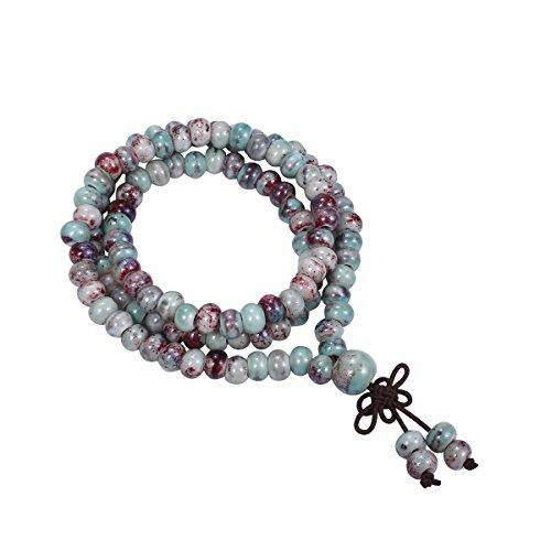Cat Eye Jewels 108 Buddhist Prayer Beads Bracelet Porcelain Buddhist Meditation Mala Beads Bracelet Necklace Fashion Cherry Turquoise(CY-H003)