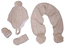 N\'Ice Caps Girls Geo Design Cable Knit 3PC Set With Fleece Lining (6-18 Months, Winter White Cream - Infant)